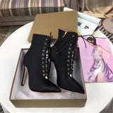 www.Petalsfashionz.com Quick shipping low prices women's shoes leather luxury ankle boots for women sexy high heel sock boots pointed toe cross chunky runway shoes pumps