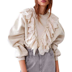www.Petalsfashionz.com Quick shipping low prices women's Blouses & Unique Tops  Boho Inspired long sleeve blouse women cotton  embroidery ruffle casual winter clothes