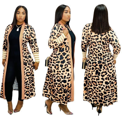www.Petalsfashionz.com Quick shipping low prices women's Cardigans Leopard Knitted Long Cardigan Open Stitch Long Sleeve Sweater Overcoat Winter Casual Knitted Sweater Coat