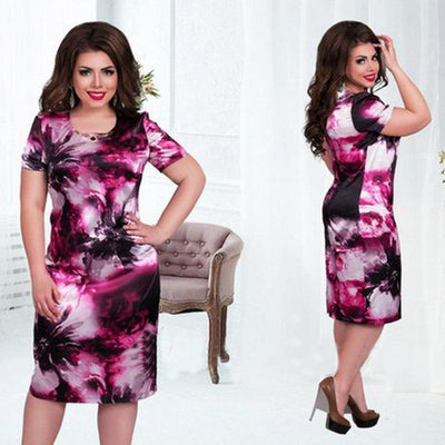 www.Petalsfashionz.com Quick shipping low prices women's Maxi Dresses & Sundresses Dress Plus Size 6XL Vestidos O Neck Print Flower Straight Casual Summer Knee Length Plus Size Dress