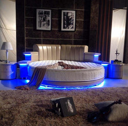 www.Petalsfashionz.com Quick shipping low prices Unique Custom Bedroom Furniture modern style romantic with USB player and Bluetooth multi functional round bed