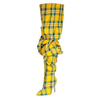 www.Petalsfashionz.com Quick shipping low prices women's shoes Limited Edition Thigh High São Paulo Over the Knee High Heels Plaid Boots Ladies