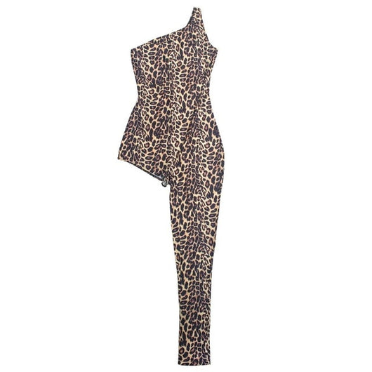 www.Petalsfashionz.com Quick shipping low prices women's rompers & jumpsuits. One Legged Bodycon Jumpsuit Romper Women Sexy Going Out Party Club One Piece Outfits Leopard Print