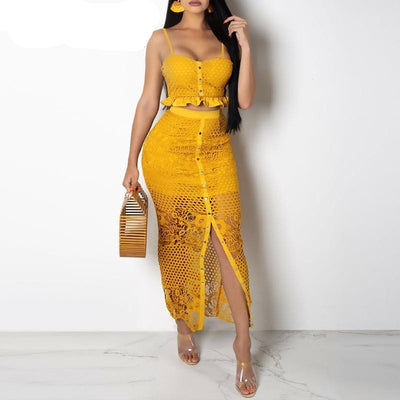 www.Petalsfashionz.com Quick shipping low prices women's Maxi Dresses & Sundresses JaMerry Vintage sexy hollow out two piece set women dress Spaghetti strap button lining summer sundress Elegant solid midi dress