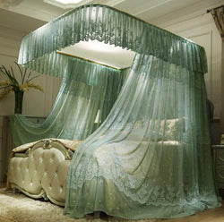 www.Petalsfashionz.com Quick shipping low prices Bedroom Design And Decor Collection Green Beige Luxury European Palace Style Three open door Landing Rail Mosquito Net Stainless Steel Mosquito Frame Bedding Set