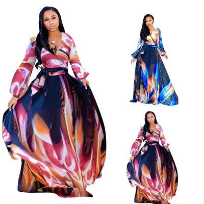 www.Petalsfashionz.com Quick shipping low prices women's Maxi Dresses & Sundresses V-Neck Printed Bohemian Maxi Dresses For Women Long Sleeve Ankle-Length Rainbow Autumn Dresses Long Dress
