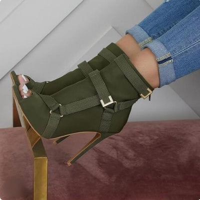 www.Petalsfashionz.com Quick shipping low prices women's shoes  Army Green Runway Boots With Buckle Strap Thin Heels Gladiator Sock Ankle Boots Peep Toe