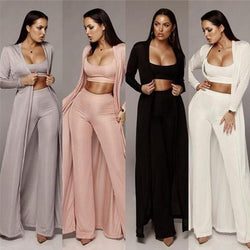 www.Petalsfashionz.com Quick shipping low prices Cardigans 3 Piece Set Outfits Women O Neck Vest Top+Long Wide Leg Pant+Full Sleeve Long Cardigan Casual Knit Three Piece Sets