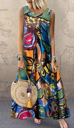 www.Petalsfashionz.com Quick shipping low prices women's Maxi Dresses & Sundresses Bohemian Sleeveless Floral Printed Sundress Vintage Kaftan Beach Vestido Femme Sarafans Plus Size