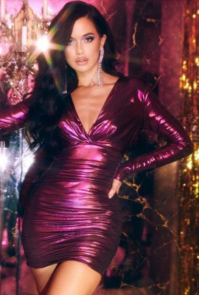 www.Petalsfashionz.com Quick shipping low prices women's Club Dresses Sexy Club Dress Style Collection Chic Sparkly Fuchsia Long Sleeve