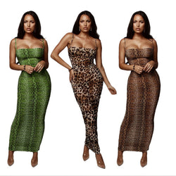 Petalsfashionz Sexy Leopard Print Snake Skin Dress Women Backless Elegant Bodycon Slim Maxi Dress Plus Size See Through Evening Party Dresses