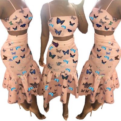 www.Petalsfashionz.com Quick shipping low prices women's Maxi Dresses & Sundresses  butterfly print pleated non-standard two-piece dress