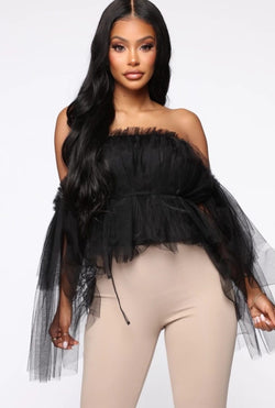 www.Petalsfashionz.com Quick shipping low prices women's Blouses & Unique Tops Sexy Women Off Shoulder Ruffle Tulle Tops Blouse Double Layer Mesh Ruffles Strapless Blouses