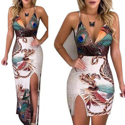 www.Petalsfashionz.com Quick shipping low prices women's Maxi Dresses & Sundresses Summer Elegant  Sling V Neck Peacock Feather Print Split Pencil Dress Female Bodycon Mini Short Vestidos Beach Sundress