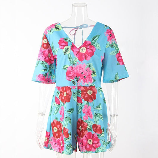 www.Petalsfashionz.com Quick shipping low prices women's rompers & jumpsuits. V Neck Floral Short Play-suit Lady Short Sleeve Casual Jumpsuit Romper