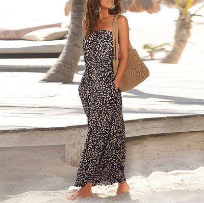 www.Petalsfashionz.com Quick shipping low prices women's Maxi Dresses & Sundresses Sexy Bandeau Holiday Off Shoulder Sleeveless Beach Print Summer Maxi Dress Beach Sundress