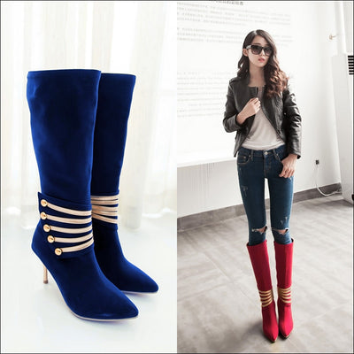 www.Petalsfashionz.com Quick shipping low prices women's Heel & Boots Shoes Apparel Oslo Design Boots Multi size 34-43 Women High Heels Boots Black Blue Red