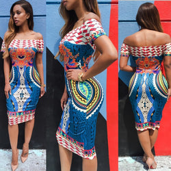 www.Petalsfashionz.com Quick shipping low prices women's Traditional Attire Traditional African Print Summer Dress Off Shoulder Midi Dress Slash Neck Short Sleeve Sheath Dress