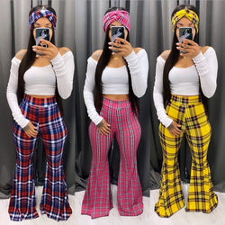 www.Petalsfashionz.com Quick shipping low prices women's Sexy Jean's & Classic Pants Plaid Print High Waisted Flare Pants for Women 2020 Fashion Sexy Bell Bottom Pants Casual Trousers