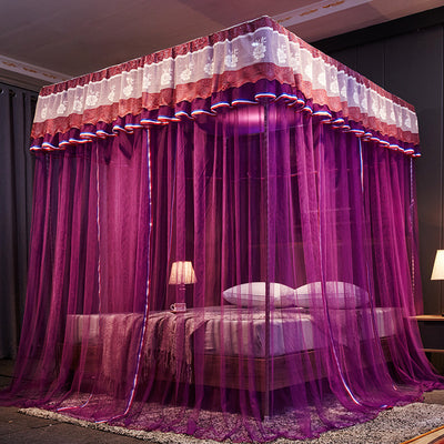 www.Petalsfashionz.com Quick shipping low prices Bedroom Design And Decor Collection Purple Green Brown Red Luxury Three Open Door White Lace Palace Mosquito Net 25mm Stainless Steel Mosquito Frame Room Decoration