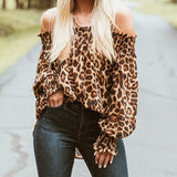 www.Petalsfashionz.com Quick shipping low prices women's Blouses & Unique Tops Sexy Style Women Leopard Shirts Off Shoulder Printing Loose Tops Pullovers Chic Blouse