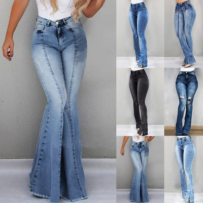 www.Petalsfashionz.com Quick shipping low prices pants for women  Casual Skinny Stretch Denim High Waist Striped Wide Leg Bell-bottomed Jeans