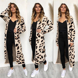 www.Petalsfashionz.com Quick shipping low prices Cardigans Leopard Print Long Sleeve Loose Knitting Sweater Women Knitted Coat Female Cardigan