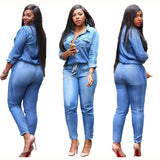 www.Petalsfashionz.com Quick shipping low prices women's plus size apparel  Casual Jumpsuit Romper Plus Size Long Sleeve Women Bodysuits Blue Overall