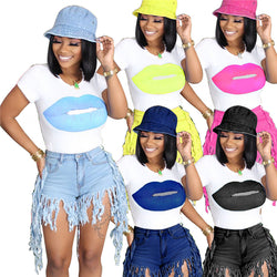 www.Petalsfashionz.com Quick shipping low prices women's Blouses & Unique Tops  Lip Print Women T Shirts Round Neck Short Sleeve Summer Casual Tees Tops