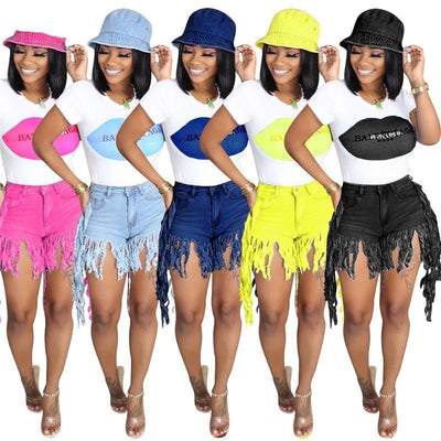 www.Petalsfashionz.com Quick shipping low prices women's Sexy Jean's & Classic Pants Summer Tassel Asymmetrical  Solid Fancy Women Jean  Short Pants