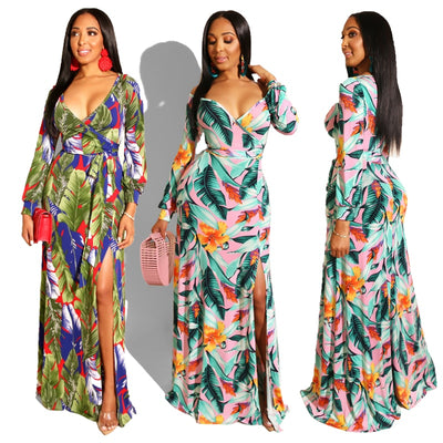 www.Petalsfashionz.com Quick shipping low prices dresses Deep V-Neck Long Sleeve Floor Length Dress Sexy Open Fork Fashion Beach Maxi Print Loose Long Dresses