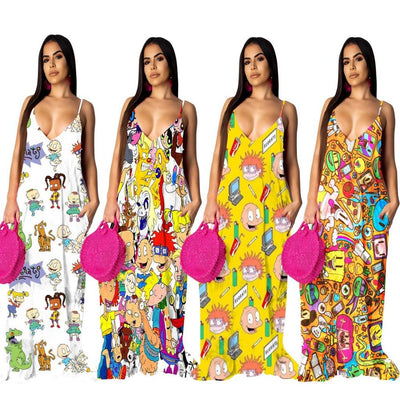 www.Petalsfashionz.com Quick shipping low prices women's Maxi Dresses & Sundresses Funny Cartoon Print Halter Long Maxi Dresses Sexy V-neck Sleeveless Beach Casual Bohemian Sexy Summer Dress