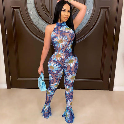 www.Petalsfashionz.com Quick shipping low prices women's Rompers & Jumpsuits apparel Floral Print Rompers Jumpsuit Halter Backless Bodycon Jumpsuit Flare Pants Sexy Club Outfits www.Petalsfashionz.com Envío rápido precios bajos Ropa de mamelucos y monos para mujer Mamelucos con estampado floral Mono Halter Sin espalda Bodycon Mono Pantalones acampanados Trajes de club sexy