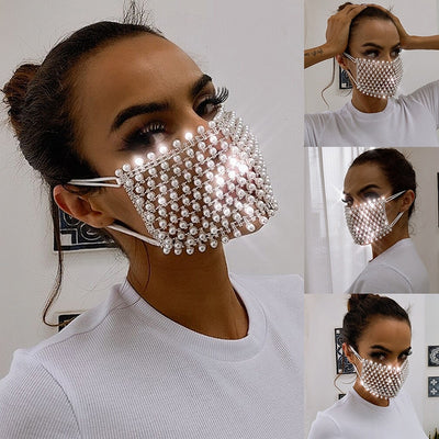 www.Petalsfashionz.com Quick shipping low prices face mask Decorations  Shiny Pearl Rhinestone Face Mask Bling Elasticity Crystal Cover Face Jewelry Cosplay Decor