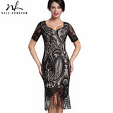 Nice-forever Sexy Lace Tassel Vintage Dress V-Neck Stylish Short Sleeve Zipper Club wear Casual Pencil Office Woman dress B337