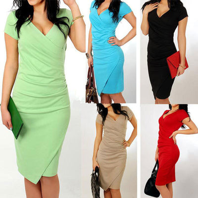 www.Petalsfashionz.com Quick shipping low prices women's Evening dresses and wrap dresses Plus Size Sexy Casual V-Neck Bodycon Dress Candy colors Slim Asymmetrical Dress Party Dresses Vestidos