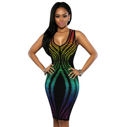 www.Petalsfashionz.com Quick shipping low prices women's Club Dresses Sexy African Print Dashiki Women Dress 7 Color Sleeveless Deep V Neck Club Midi Bodycon Party Dresses Vestidos