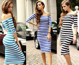 www.Petalsfashionz.com Quick shipping low prices women's Maxi Dresses & Sundresses Off Shoulder Knee Length Striped Half Sleeve Bodycon Pencil Dress Women Vestidos Plus Size S-4XL