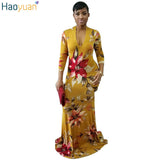 www.Petalsfashionz.com Quick shipping low prices women's Maxi Dresses & Sundresses Sexy Retro Mermaid Maxi Dress Deep V Neck Floral Printed Dashiki Dress