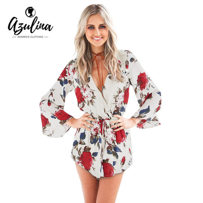 www.Petalsfashionz.com Quick shipping low prices women's rompers & jumpsuits New AZULINA Summer New Boho Red Floral Print Casual Jumpsuit Short Romper Ladies V Neck Women Playsuit Loose Beach Chiffon Overalls