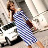 www.Petalsfashionz.com Quick shipping low prices women's Maxi Dresses & Sundresses Off Shoulder Knee Length Striped Half Sleeve Bodycon Pencil Dress Women Vestidos Plus Size S-4XL Blue