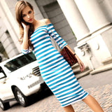 www.Petalsfashionz.com Quick shipping low prices women's Maxi Dresses & Sundresses Off Shoulder Knee Length Striped Half Sleeve Bodycon Pencil Dress Women Vestidos Plus Size S-4XL Sky Blue