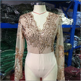 www.Petalsfashionz.com Quick shipping low prices women's business attire Autumn Sexy Women's Mesh Symmetrical Sequined Long Sleeve V-Neck Jumpsuit Sexy Bodysuit Short Playsuit Romper