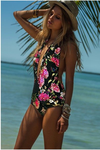 www.Petalsfashionz.com Quick shipping low prices women's swimsuit & poolside attire  Print Floral Sexy Backless Monokini, One-piece Petal Multicolor Swimwear