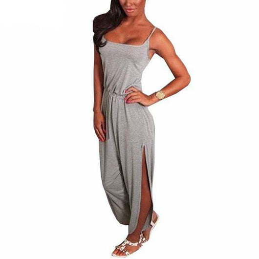 www.Petalsfashionz.com Quick shipping low prices women's rompers & jumpsuits Summer Rompers Womens Jumpsuit Sexy Spaghetti Strap Sleeveless Split Solid Overalls Long Playsuit Plus Size