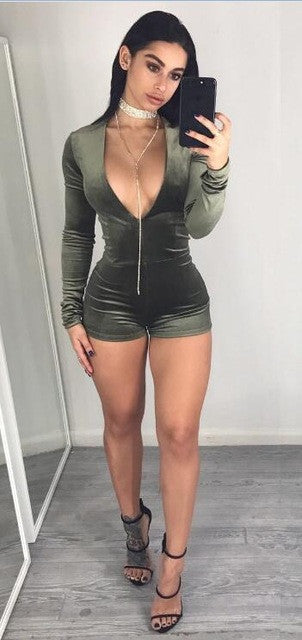 www.Petalsfashionz.com Quick shipping low prices women's rompers & jumpsuits Velvet Romper Pants Sexy Shorts Rompers Womens Jumpsuit V Neck Long Sleeve Velvet Bodysuit Women Top Casual