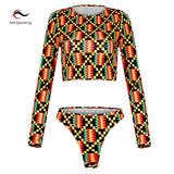 www.Petalsfashionz.com Quick shipping low prices women's swimsuit & poolside attire Print Bikini Set Push Up Pad Swimwear Swimsuit Sexy Retro Women High Waist Bottoms Swim Long Sleeve Bathing Suit