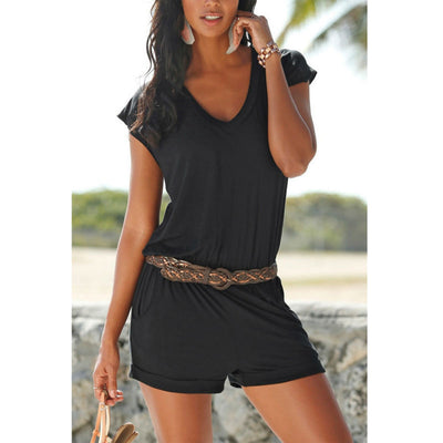 www.Petalsfashionz.com Quick shipping low prices women's rompers & jumpsuits Sexy deep V collar Playsuit rompers elegant bodycon Black