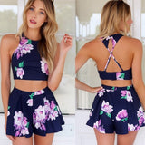 www.Petalsfashionz.com Quick shipping low prices women's plus size Rompers & Jumpsuits apparel Shorts Sexy Backless Flower Jumpsuits Rompers Overalls Playsuit Blue