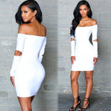 www.Petalsfashionz.com Quick shipping low prices women's club dresses  Sexy Off Shoulder Dress Hollow Out Slash Neck Party Dress White